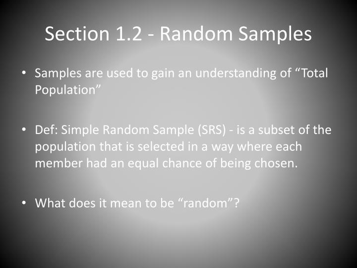 Section 1 2 random samples