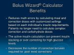 bolus wizard calculator benefits