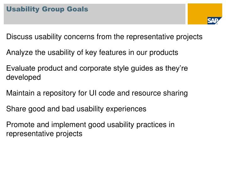 Usability Group Goals