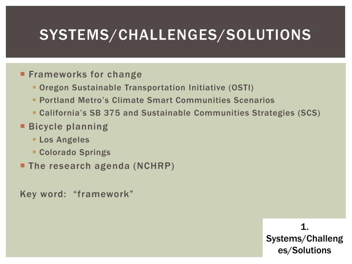 systems/challenges/solutions