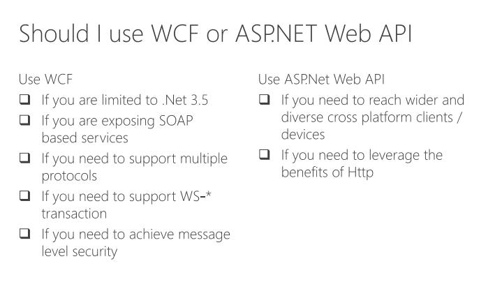 Should I use WCF or ASP.NET Web API