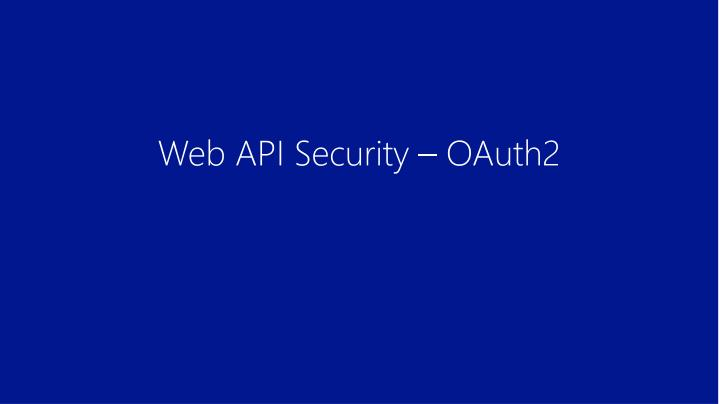 Web API Security – OAuth2