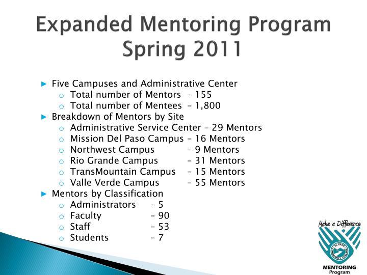 Expanded Mentoring Program Spring 2011