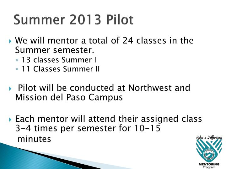 Summer 2013 Pilot