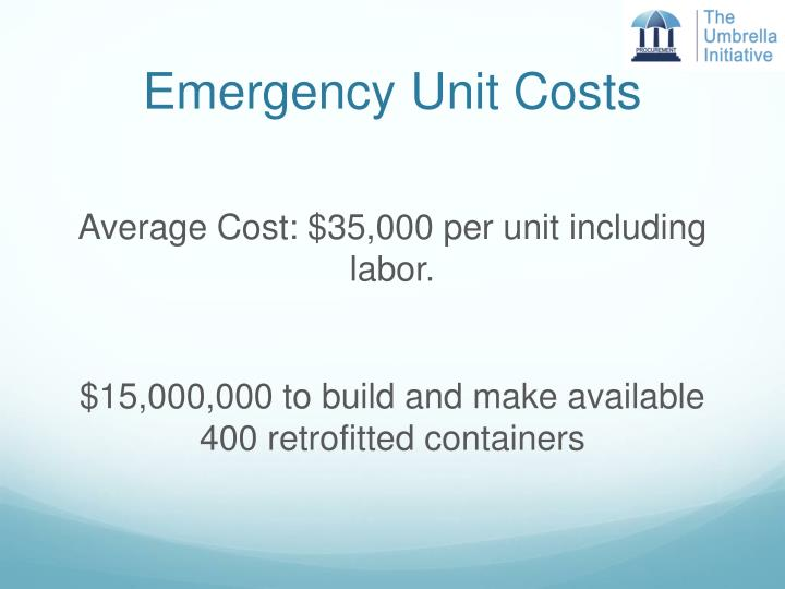 Emergency Unit Costs