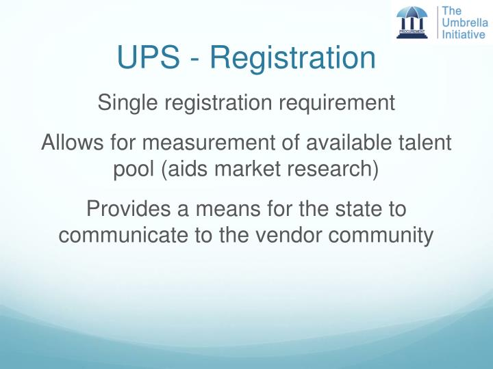 UPS - Registration
