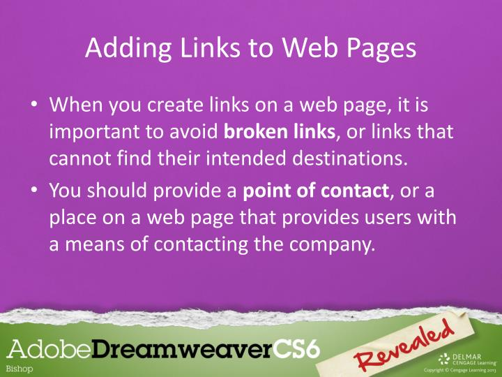 Adding Links to Web Pages
