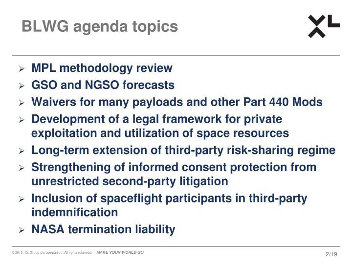 BLWG agenda