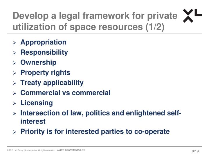 Develop a legal framework for private utilization of space resources (1/2)