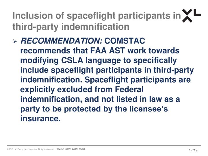 Inclusion of spaceflight participants in third-party indemnification