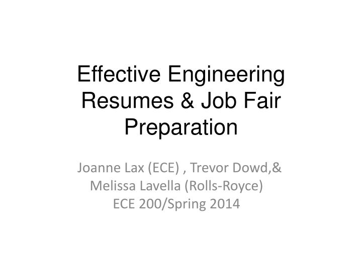 Effective engineering resumes job fair preparation