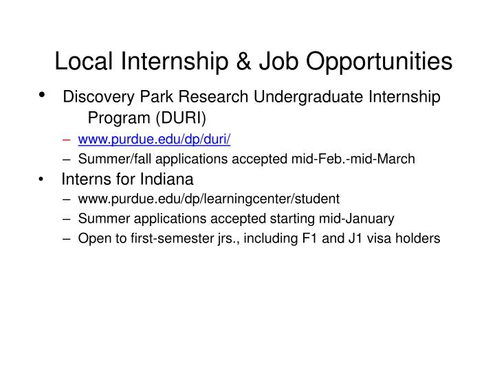 Local Internship & Job Opportunities