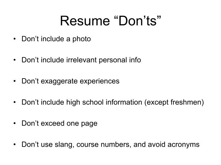 "Resume ""Don'ts"""