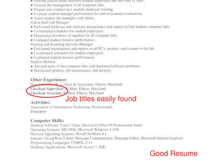 Job titles easily found