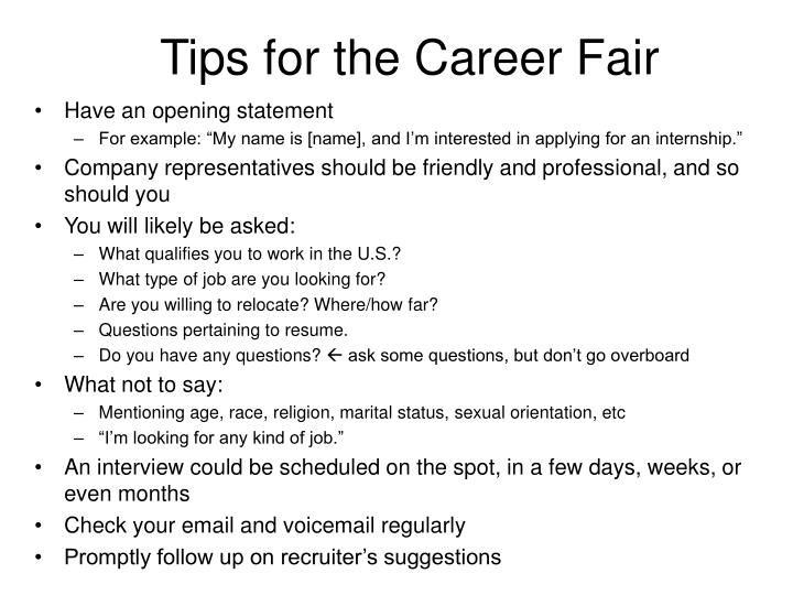 Tips for the Career Fair