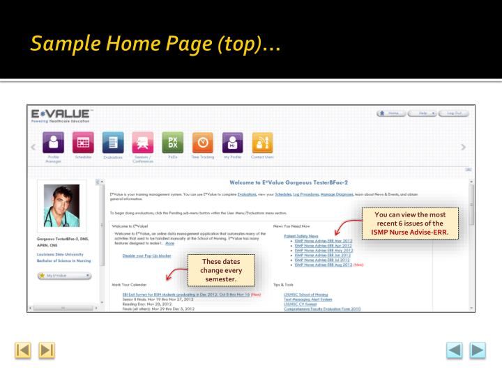 Sample Home Page (top)