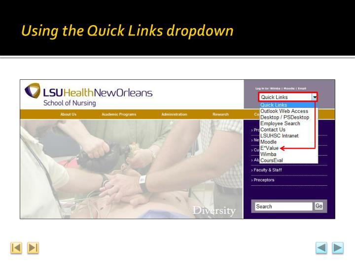 Using the Quick Links dropdown