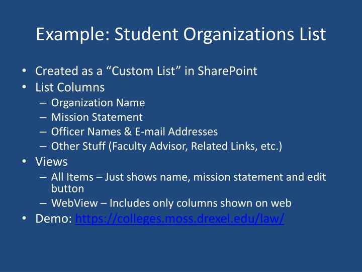 Example: Student Organizations List