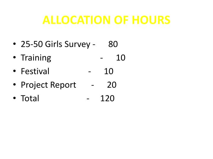ALLOCATION OF HOURS