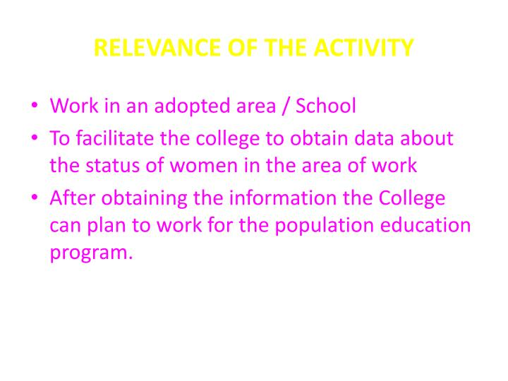 RELEVANCE OF THE ACTIVITY