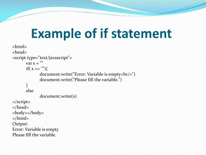 Example of if statement