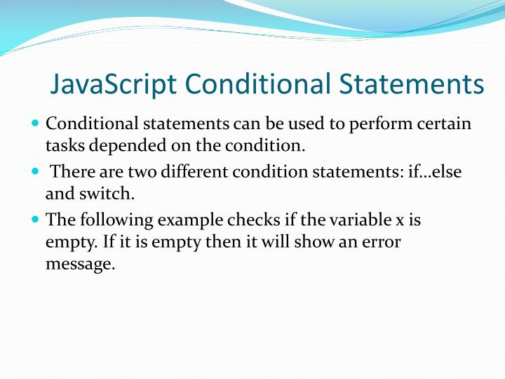 JavaScript Conditional Statements