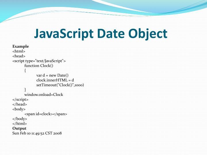 JavaScript Date Object