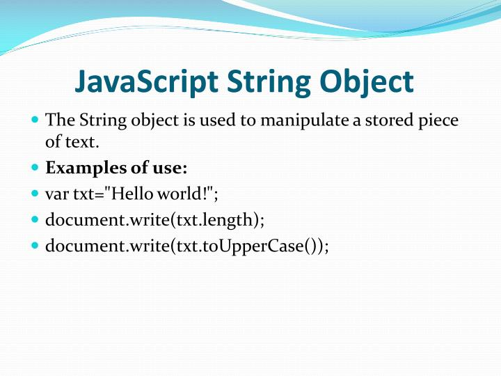 JavaScript String Object