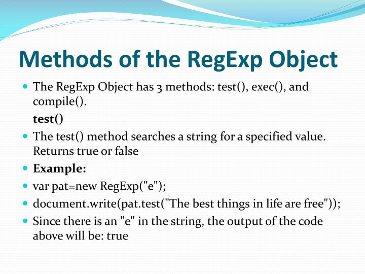 Methods of the RegExp Object