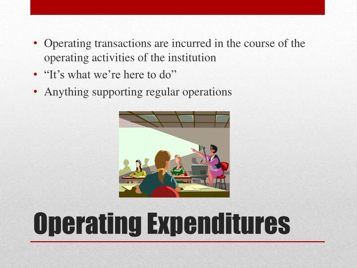 Operating transactions are incurred in the course of the operating activities of the institution