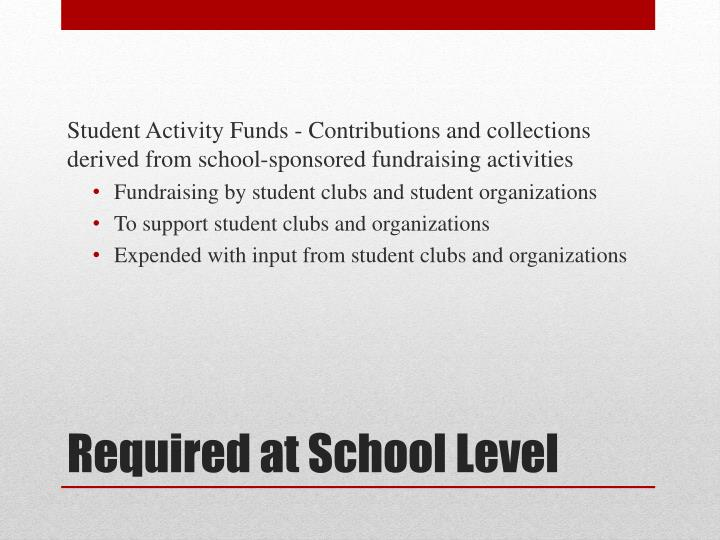Student Activity Funds - Contributions and collections derived from school-sponsored fundraising activities