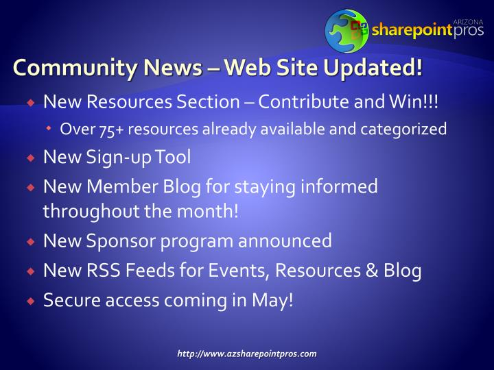 Community News – Web Site Updated!