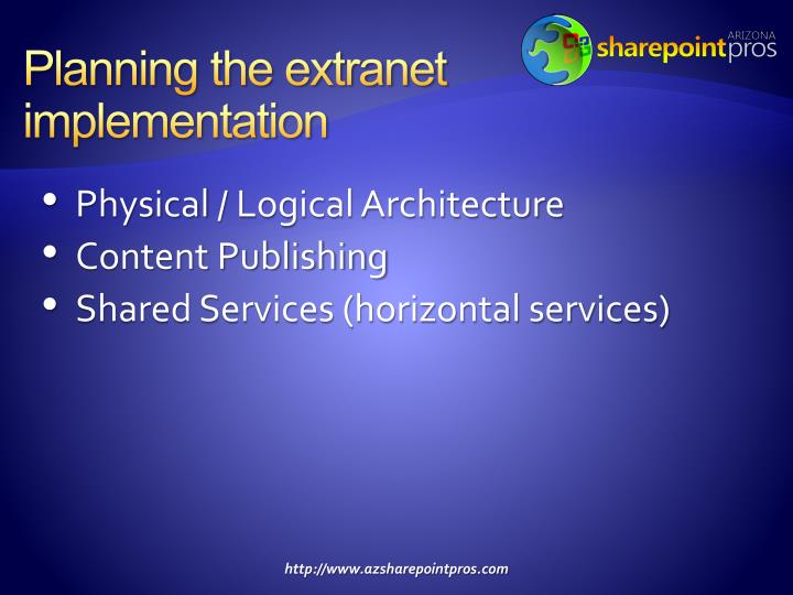 Planning the extranet implementation