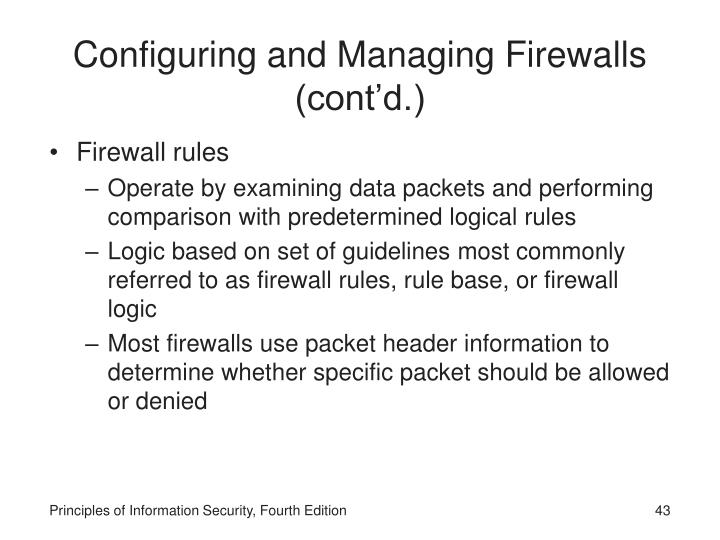Configuring and Managing Firewalls  (cont'd.)