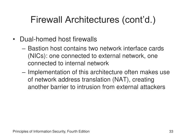 Firewall Architectures (cont'd.)