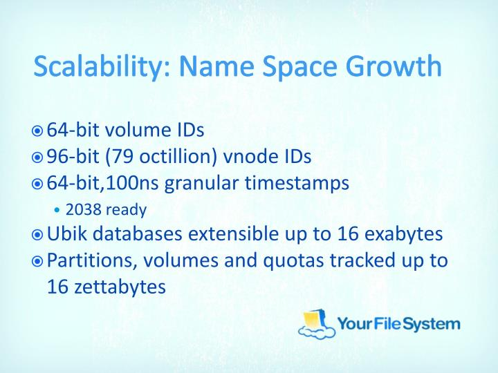 Scalability: Name Space Growth