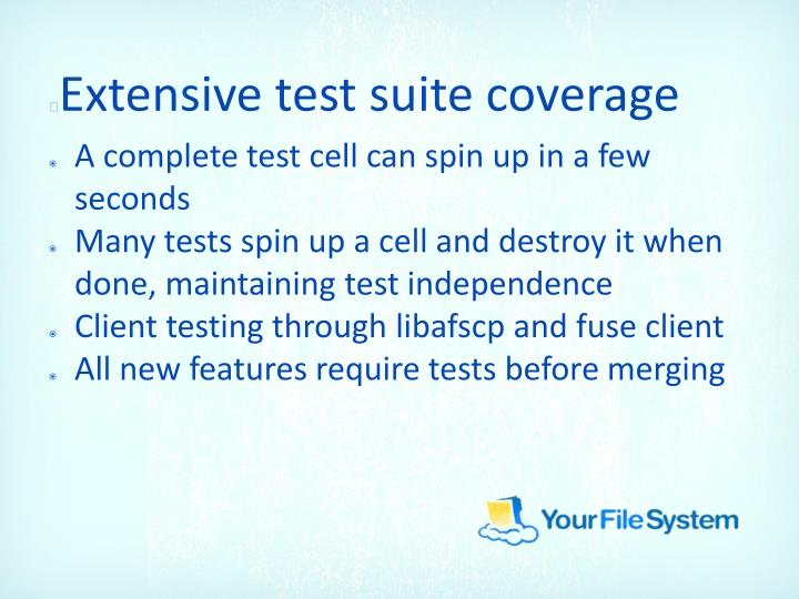 Extensive test suite coverage