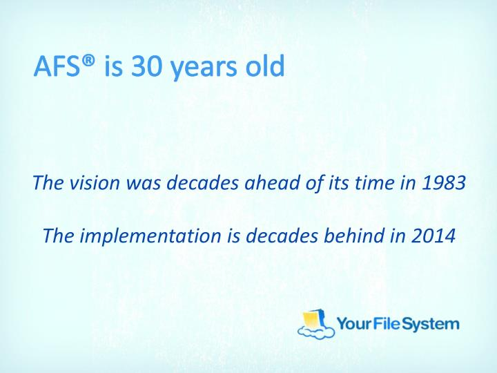 AFS® is 30 years old