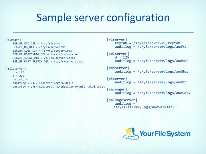 Sample server configuration