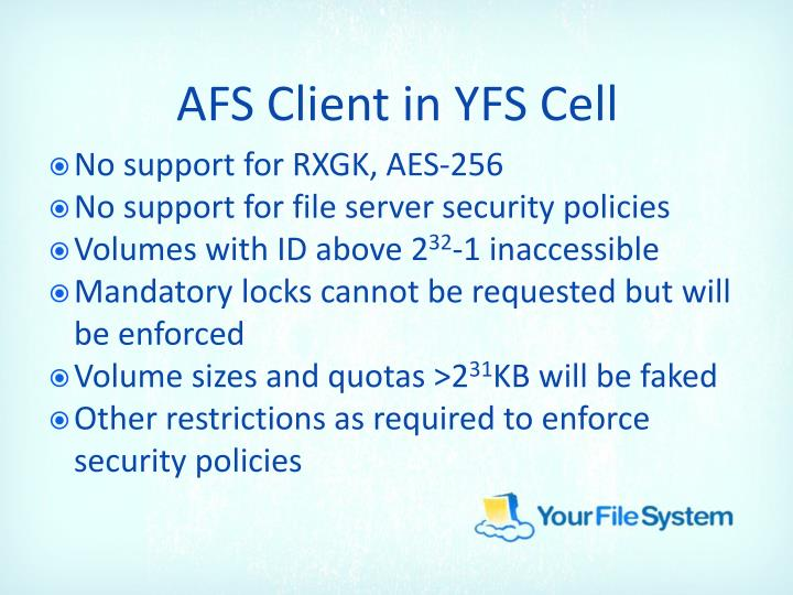AFS Client in YFS Cell