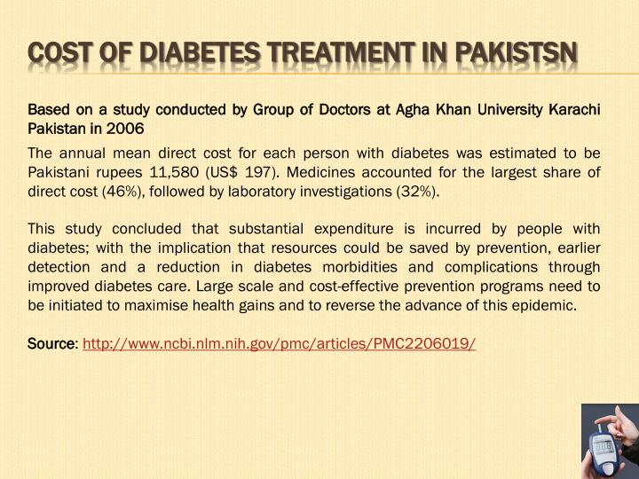 COST OF DIABETES Treatment IN PAKISTSN