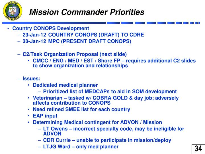 Mission Commander Priorities