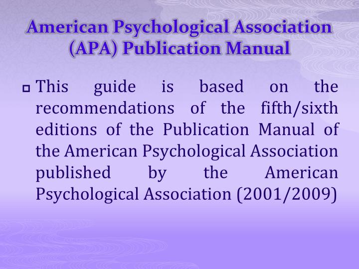 American psychological association apa publication manual