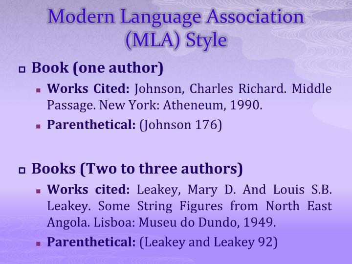 Modern Language Association (MLA) Style