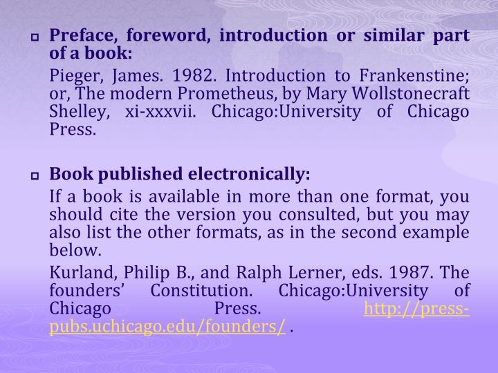 Preface, foreword, introduction or similar part of a book: