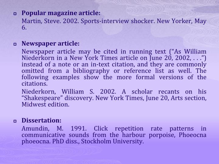 Popular magazine article: