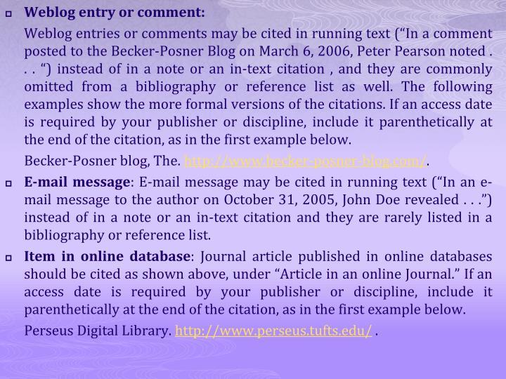 Weblog entry or comment: