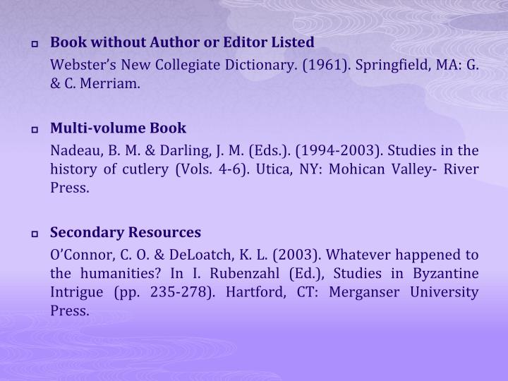 Book without Author or Editor Listed