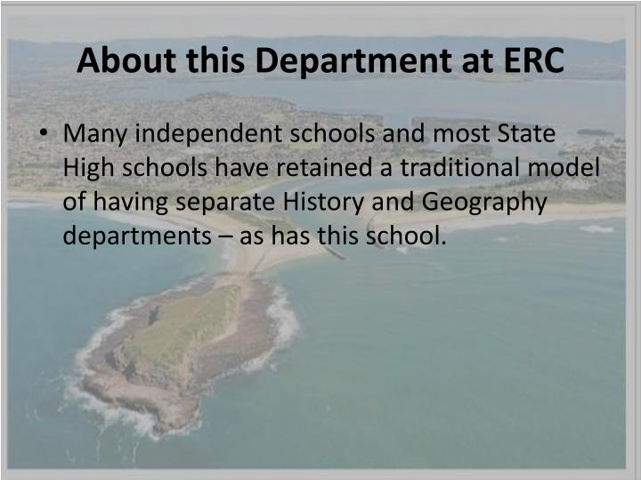 About this department at erc