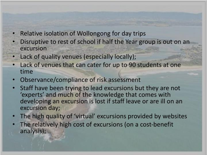 Relative isolation of Wollongong for day trips